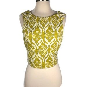 Lucy Paris Yellow Textured Cropped Tank Blouse Lg